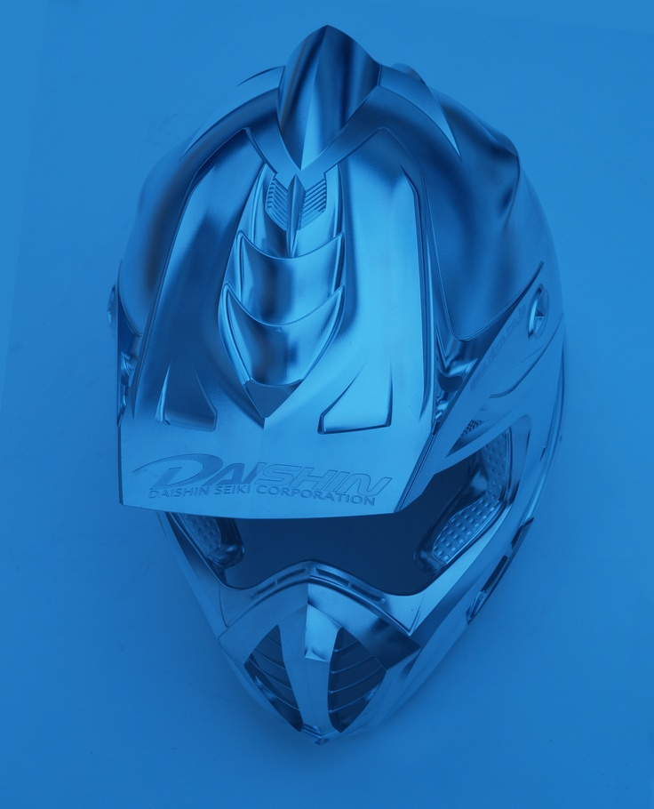 The blue collection: Motorcycle helmet from DAISHIN SEIKI CORPORATION, Japan - a leading provider of prototypes to the motorsport industry and specialises in technologically sophisticated parts and 5axis manufacturing.