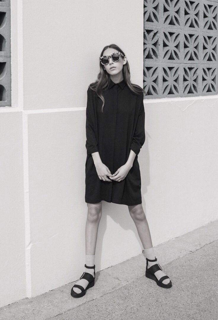 sunglasses, black dress, socks and sandals #style #fashion