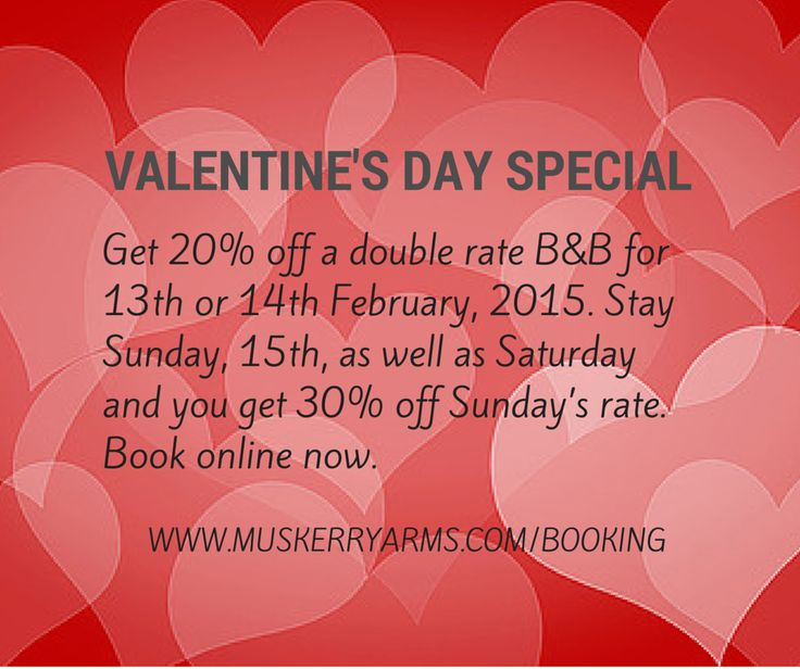 Valentine's Special Offer - 20% off double rate b&b for 13th & 14th February. Book now.