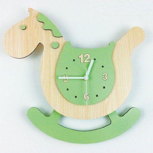 可愛い 掛け時計の通販 DeNAショッピング 掛け時計 かわいい 木馬 振り子式 (グリーン)
