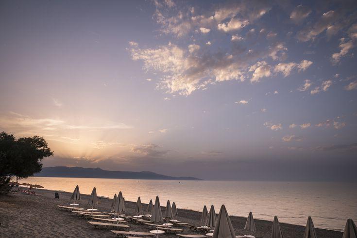 Blue Dome Hotel || Sunset at the beach in Platanias.  #beach #sunset #sea #bestview #besthotel #chania #crete #greece #greekislands