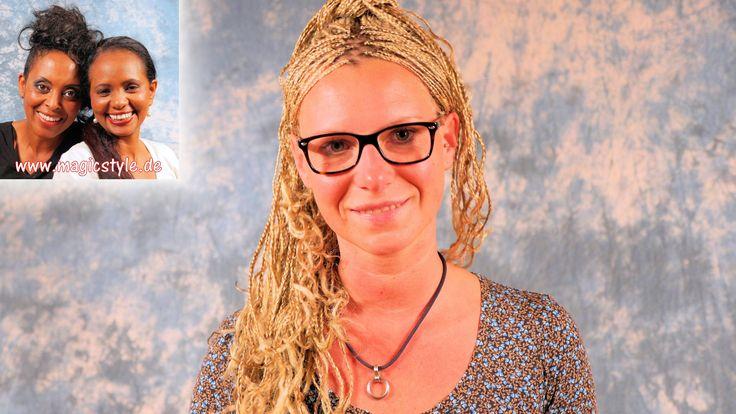 Alex: Superfeine, lange, blonde Rastazöpfe in kurzes Haar einflechten