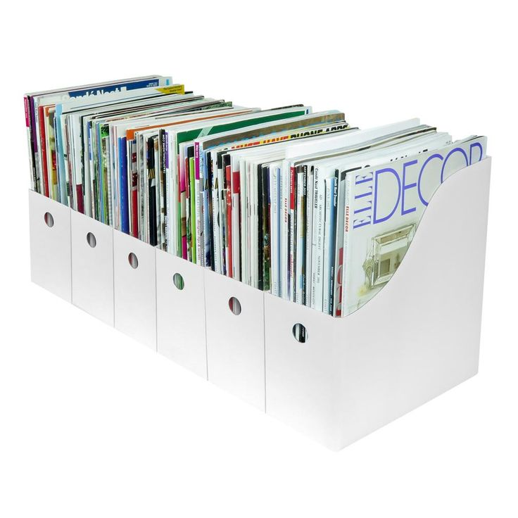Set Of 6 Magazine File Holder Organizer Boxes W Labels