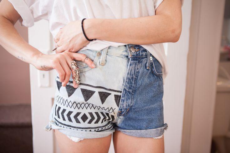 DIY bleached aztek denim shorts – Boat People Vintage – DIY style & art de vivre