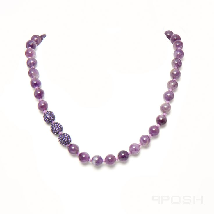 - Genuine amethyst necklace - Made with high strength rope to prevent breakage - Shamballa style necklace with traditional hand knotting - Fully adjustable pull string design to fit any neck - Length: Adjustable from 18 inch all the way to 34 inch (46 cm to 86 cm)