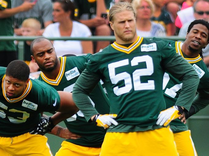 packer training camp 2015 roster | Green Bay Packers players, from left, Nick Perry, Mike Neal, Clay ...