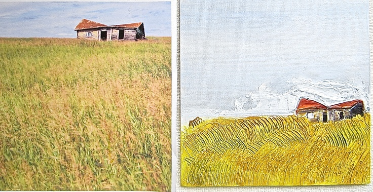"""Canadian Prairie"" Acrylic/Mixed-media 18cm x 18cm (on the right/photo: author unknown) © Alicia M B Ballard"