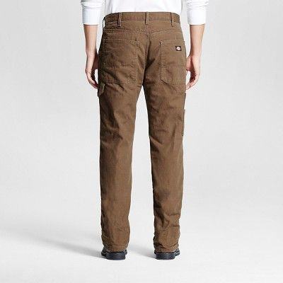 Dickies Men's Relaxed Straight Fit Canvas Flannel-Lined Carpenter Jean- Timber 40x32