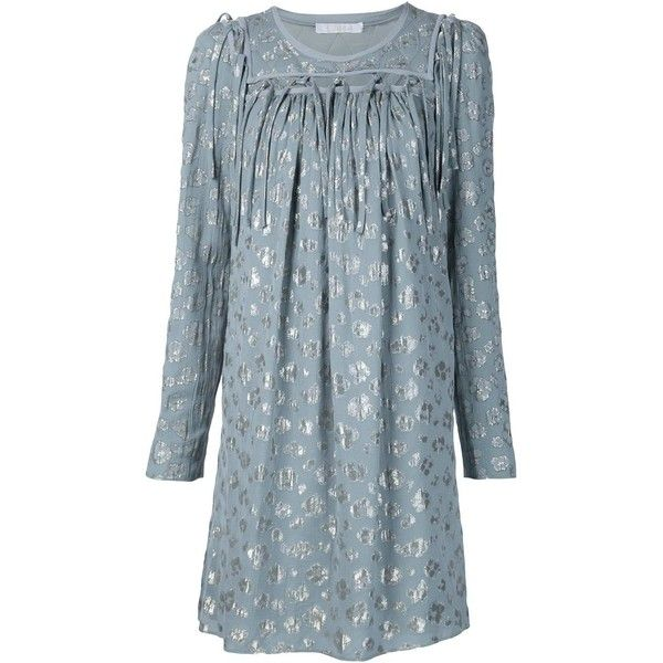 Chloé Leopard Print Loose Dress (10.680 RON) ❤ liked on Polyvore featuring dresses, blue, loose dress, blue long sleeve dress, blue dress, draped dress and long sleeve short dress