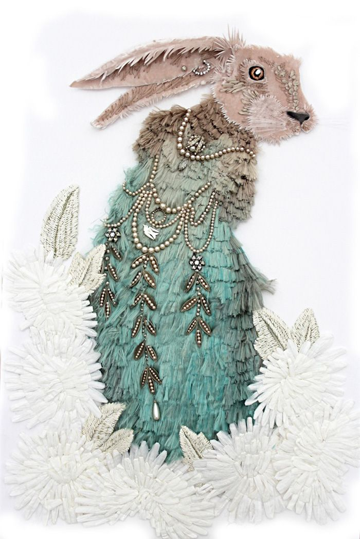 rabbit of silk and beads