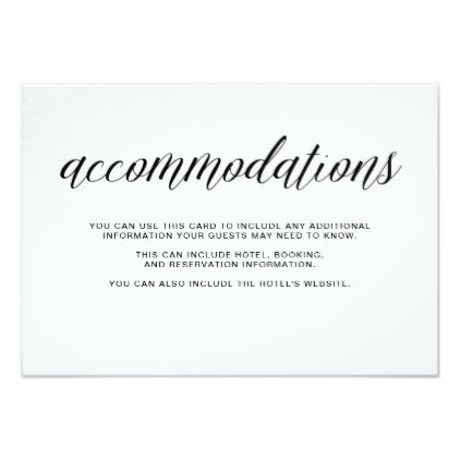 #Typography on Watercolor Paper | Accommodations Card - #weddinginvitations #wedding #invitations #party #card #cards #invitation #modern