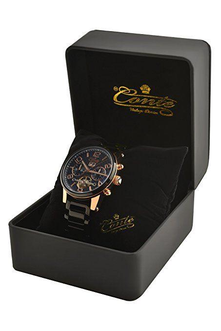 Relojes Cronógrafo modelo de reloj de pulsera de los hombres M.Conte Rafael negro con rosa relojes de pulsera de acero inoxidable de oro en la caja.: Amazon.es: Relojes