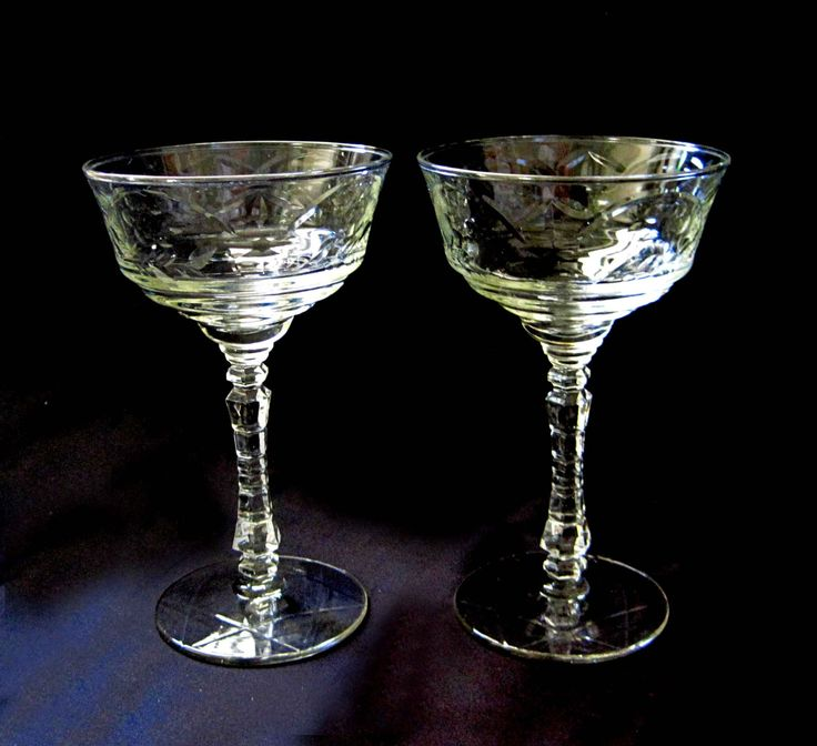 Set Of 4 Libbey Rock Sharpe Arctic Rose Martini Glasses Wine Glass, Star Of  David Stemware, 1940s Cut Stemmed, Man Gift, Rosh Hashanah