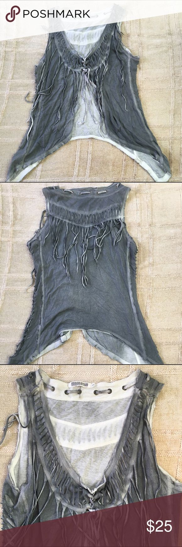 Fringe Festival Top Fringed top. Slits in sides. Perfect for festivals!! Monoreno Tops