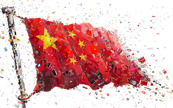 Download wallpapers Chinese flag, 4k, art, creative, flag of China