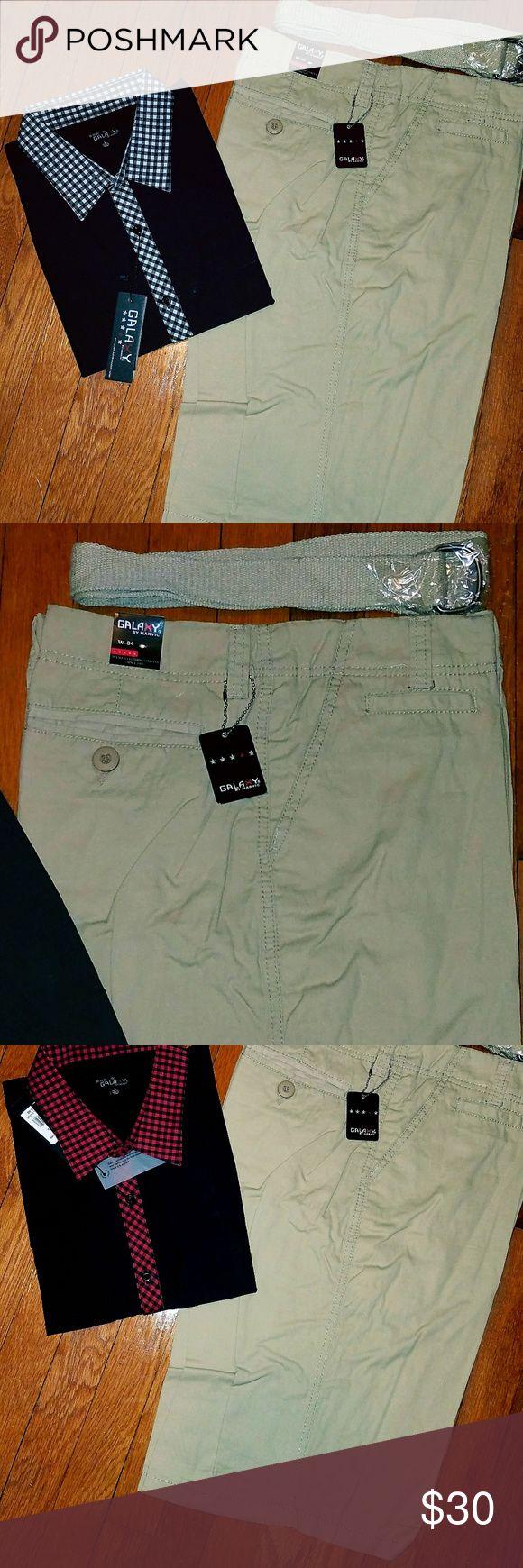 Men's Khaki Shorts Brand new. Size 34 waist. Congress with fabric belt. Galaxy Shorts Flat Front