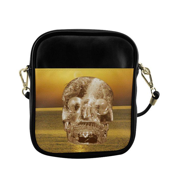 Crystal Skull Gold Sling Bag (Model 1627)