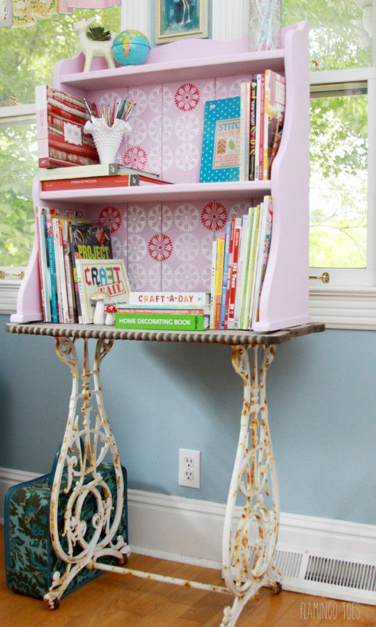 Cute and Colorful Pink Stenciled Retro Craft Room Bookshelf - Royal Design Studio