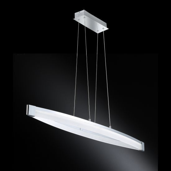 suspension design chrome vannes 40w led wofi luminaires online. Black Bedroom Furniture Sets. Home Design Ideas