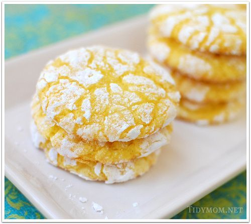 Dessert: Lemon Burst Cake Mix Cookies- 1 box lemon cake mix, 8oz