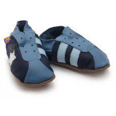 Retro Navy / Blue Soft Leather Baby Shoes Made and supplied by Star Child Shoes in #Leicestershire - £18.00