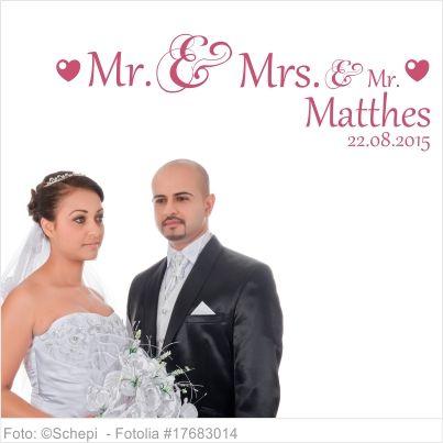 Wandtattoo Hochzeit Mr. and Mrs. und kleinem Mr.