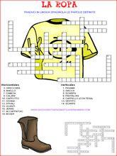 giochi di enigmistica in spagnolo su abbigliamento con maglietta gialla e stivale marrone