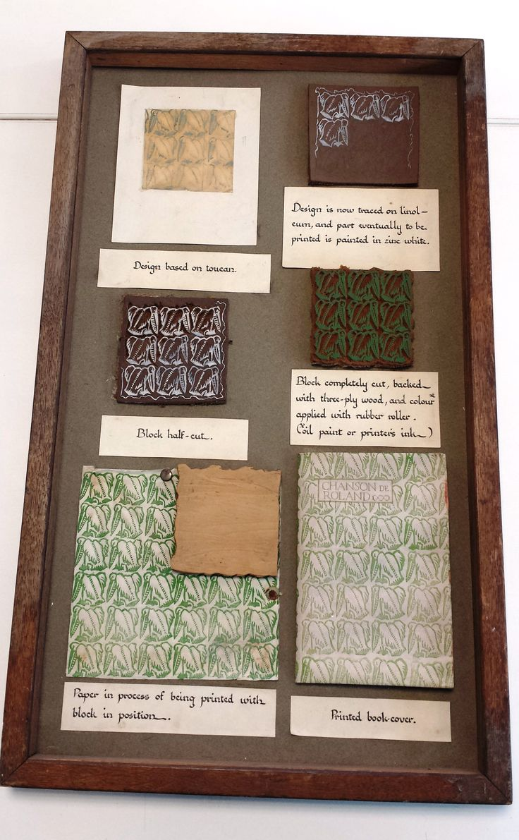 This display case shows the process of block printing on linoleum, featuring a toucan pattern design. Archive reference: NMC/1626
