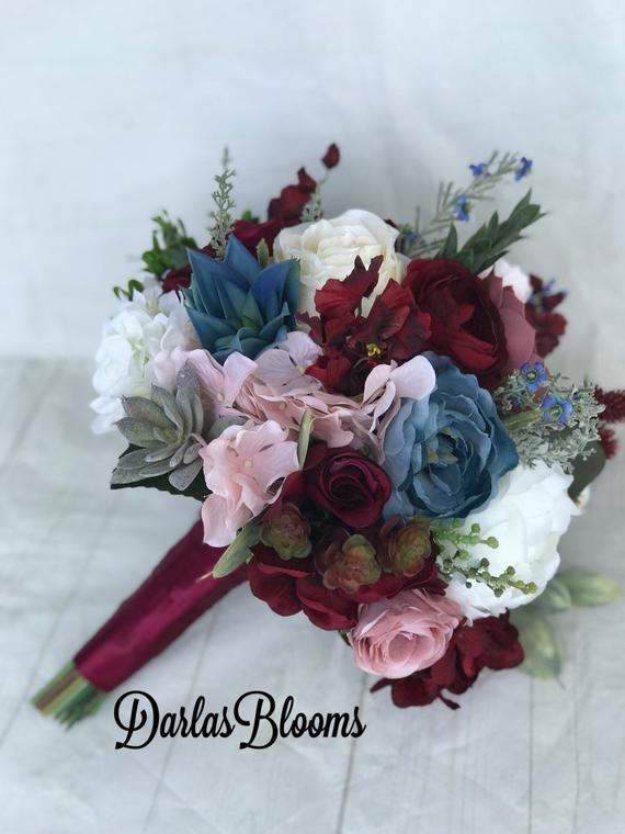 Burgundy Wine Wedding Bouquet Dusty Blue Bouquet Steel Blue