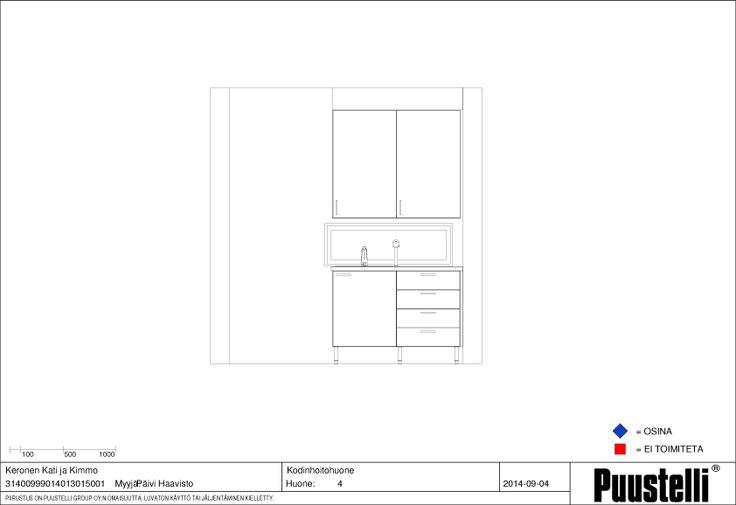 Kodinhoitohuoneen allaskaappi-seinä. Välitilassa ikkuna. Kaapit mattavalkoiset, taso harmaa betonijäljitelmä-laminaatti,