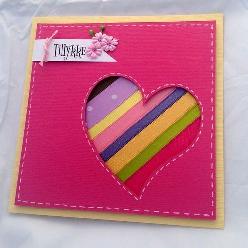card with ribbon scraps