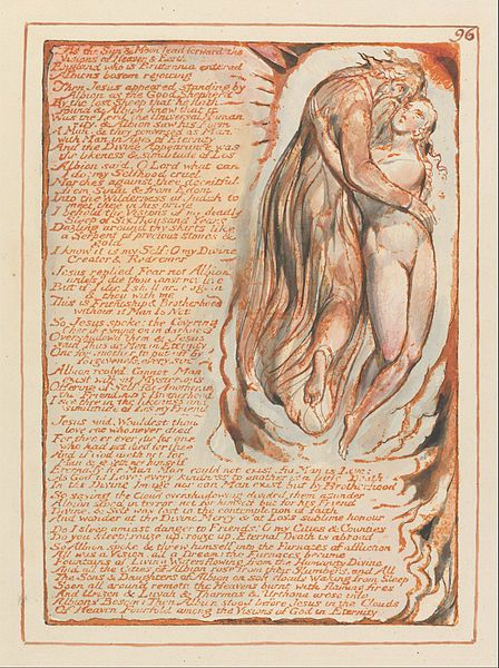 """1804-20.William Blake-Jerusalem The Emanation of the Giant Albion.203х143 mm.Yale Center for British Art.Plate 96, """"As the Sun & Moon lead forward...."""""""