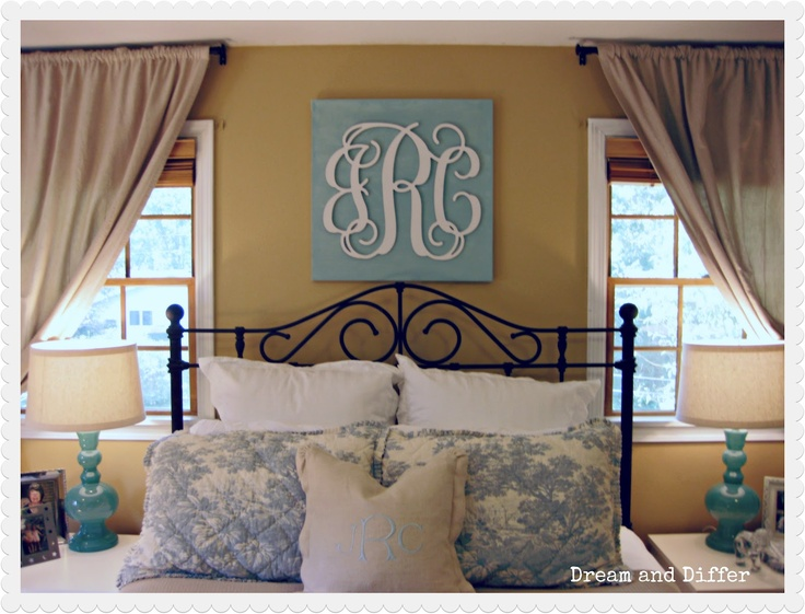 monogram bedroom - Google Search this but with out the curly letters! Simple fonts!