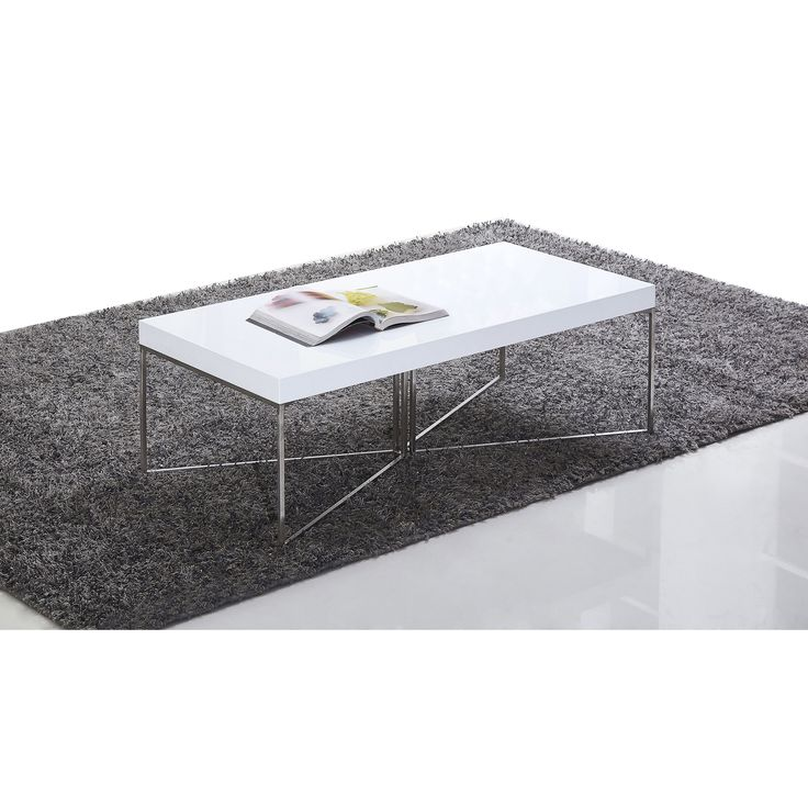 B-Modern Mixer High-Gloss White and Stainless Steel Coffee Table (High-Gloss White & Stainless Steel), Silver
