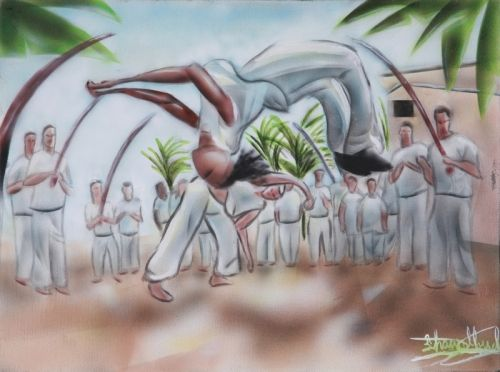 """Brazilian Capoeira  Capoeira is a fun expression of Martial Art and Dance. A very high level of skill and physical ability is shown in these demonstrations. I was motivated to include this painting in the """"Urban Moment Series"""" because of it's high energy and community ."""
