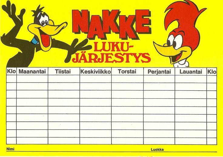 Nakke lukujärjestys 1971 (70-luvulta, päivää ! -blogi)
