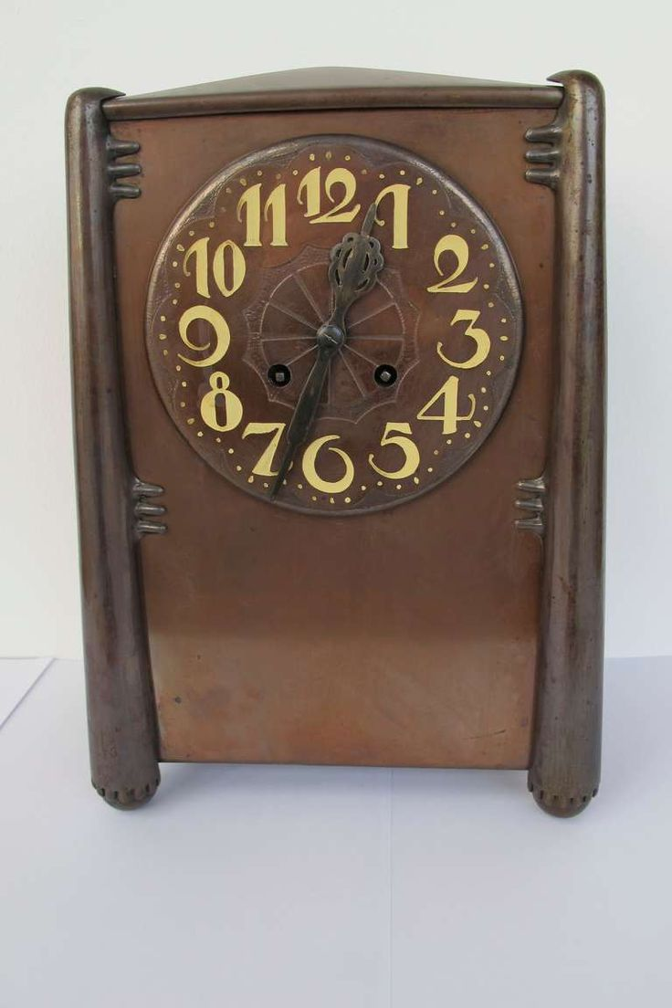 Beautiful Amsterdam School copper mantle clock, 1920's Art Deco 2