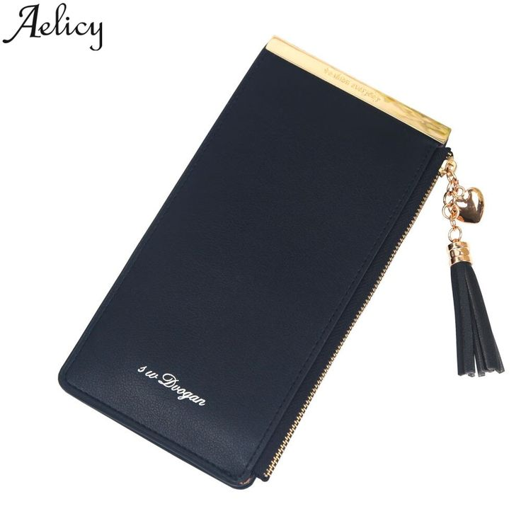 Aelicy Women Zipper Tassels Multi Card Position Long Wallet Coin Purse Solid Hol…