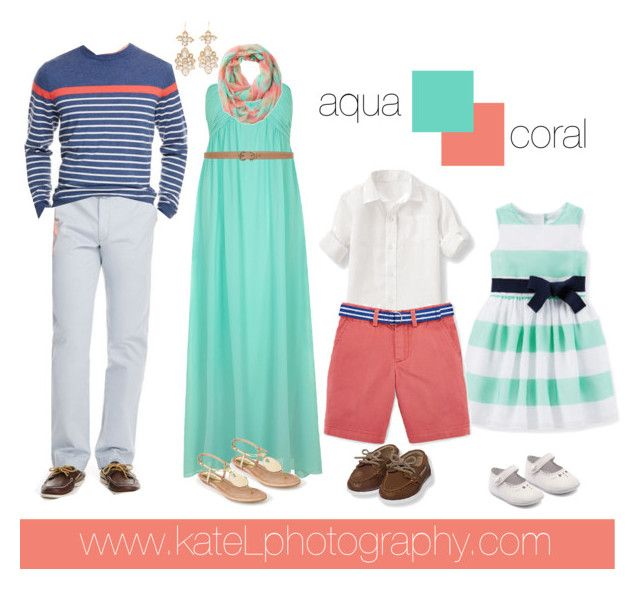 Preppy Family // Aqua + Coral family outfit inspiration: what to wear for a family photo session in the spring or summer. Created by Kate Lemmon, www.kateLphotography.com
