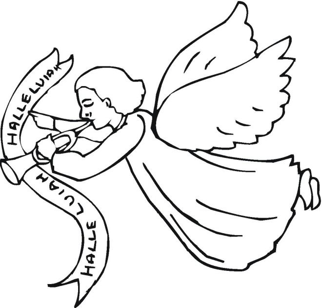 Halleluiah Trumpet Angel Coloring Page Cartoon Coloring Pages