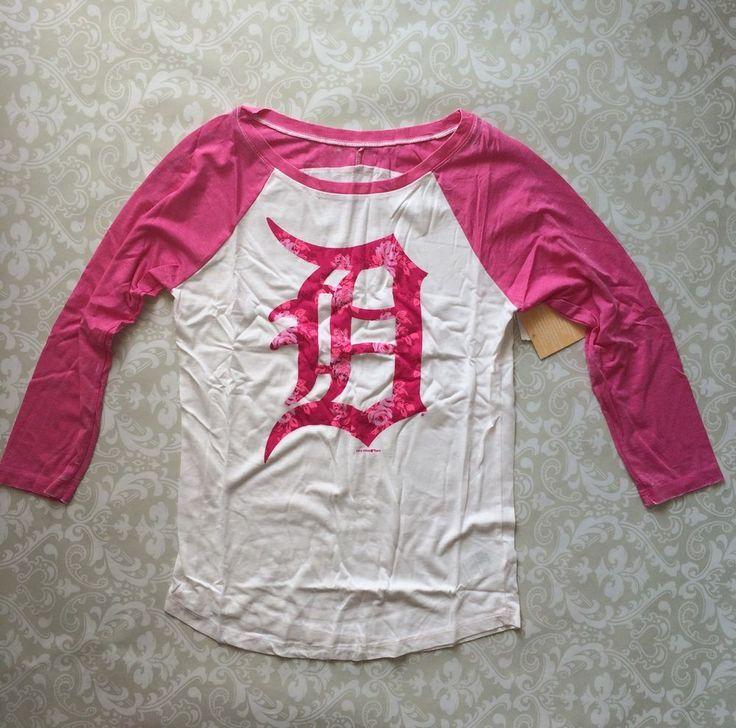 MLB Tigers Detroit Ladies Floral Scoop Neck Raglan Shirt Small White/Pink NWT    eBay
