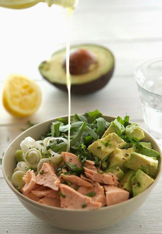 Salmon, Avocado and Arugula Salad with Lemon-Parsley Dressing - The Iron You