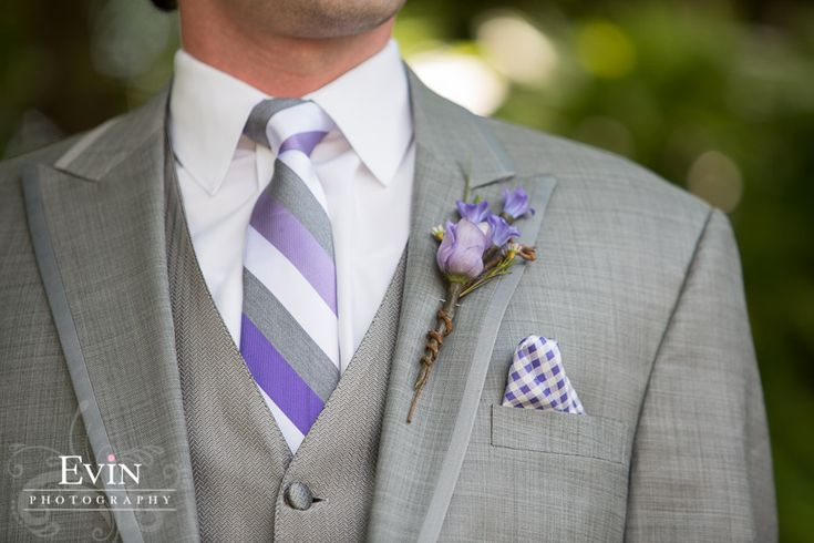 Grey Grooms Suit with purple details