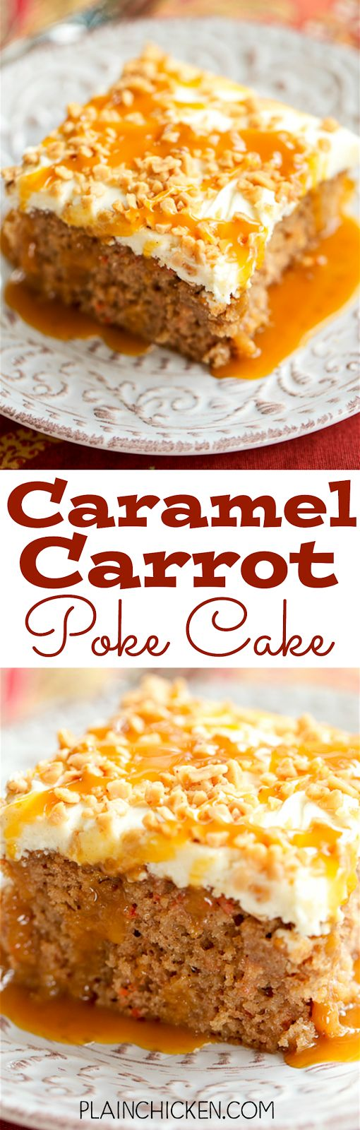Caramel Carrot Poke Cake - carrot cake soaked in sweetened condensed milk and caramel and topped with a quick homemade cream cheese frosting. SO good! Great for potlucks and the holidays.