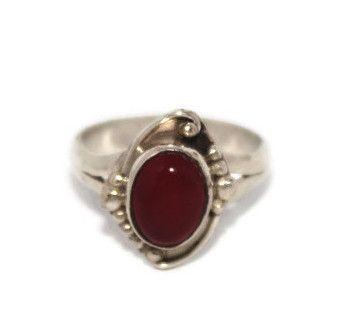 925 Sterling Silver Ring Garnet Ring Gypsy Ring Tibetan Ring Hippie Ring
