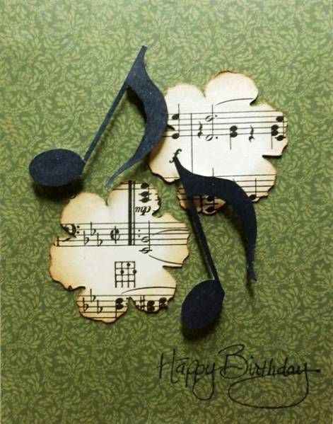 handmade card: Symphony by BobbiesGirl ... like the flowers die cut from sheet music and the die cut notes ...