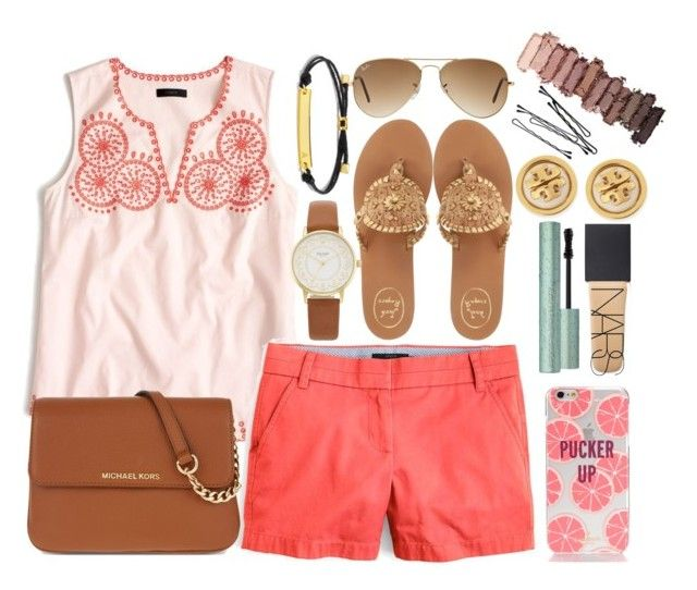 """""""//read d"""" by kendall-douglas ❤ liked on Polyvore featuring J.Crew, Jack Rogers, MICHAEL Michael Kors, Ray-Ban, Kate Spade, BaubleBar, NARS Cosmetics, Too Faced Cosmetics, Tory Burch and Urban Decay"""