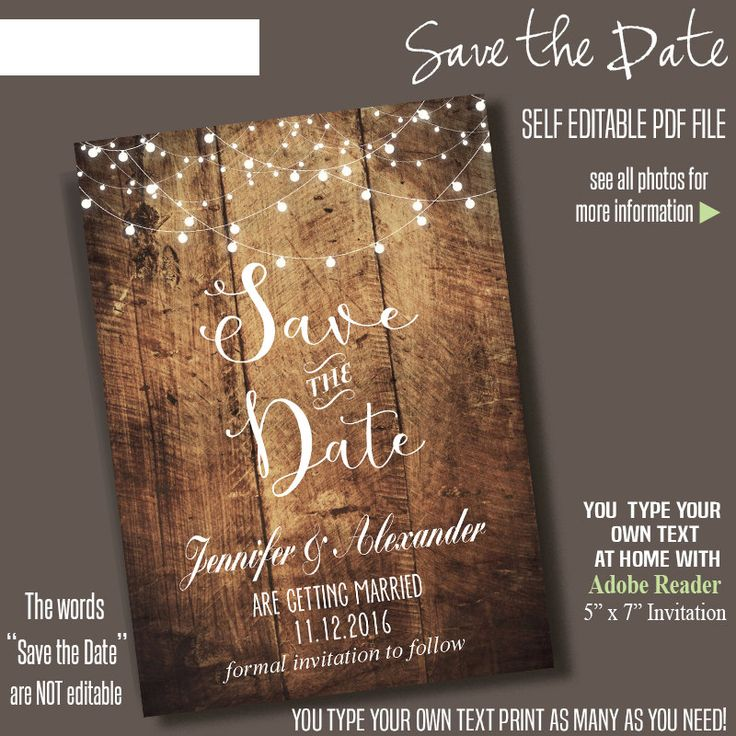 """✿The words """"Save the Date"""" are Not Editable✿  Instant Download Self-Editable PDF File * You type your own text at home using a desktop computer and latest free Adobe Reader *  ►This Listing INCLUDES: 1) Editable PDF File – Two 5"""" x 7"""" per page (1/8"""" bleeding) * Formatted to print on US Letter Size 8.5 x 11  2) Additional editable PDF file formatted to print ONE 5"""" x 7"""" (1/8"""" bleeding)  3) Instructions PDF file *Files are ONE-SIDED and do not support foreign language special characters.* SEE…"""