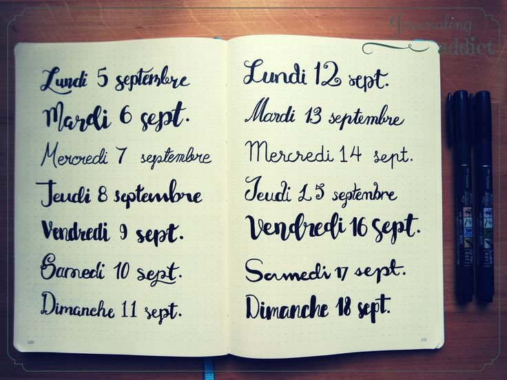 bullet journal bujo calligraphie lettrage