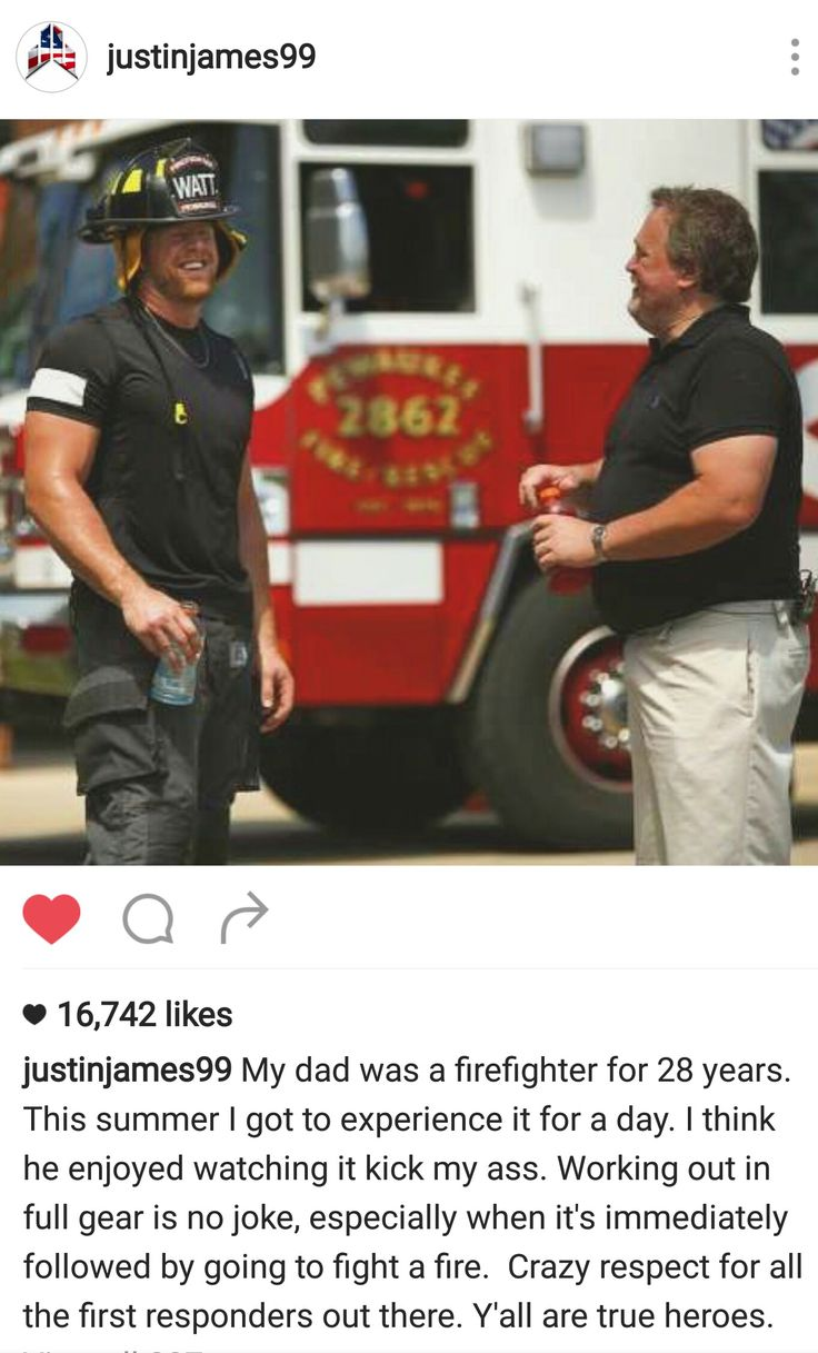 JJ Watt's Instagram- 8.10.16- Talking about gearing up to Work out w/ Pewaukee Fire Dept.- Papa John Watt (retired PFD) in pic
